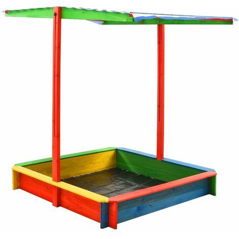 vidaXL Arenero infantil tejado ajustable madera abeto multicolor UV50 - Multicolor