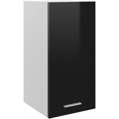 vidaXL Armario colgante cocina aglomerado negro brillo 29,5x31x60 cm - Negro