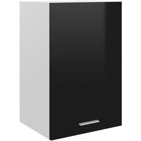 vidaXL Armario colgante cocina aglomerado negro brillo 39,5x31x60 cm - Negro