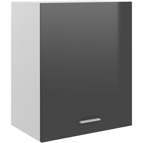 vidaXL Armario colgante de cocina aglomerado gris brillo 50x31x60 cm - Gris