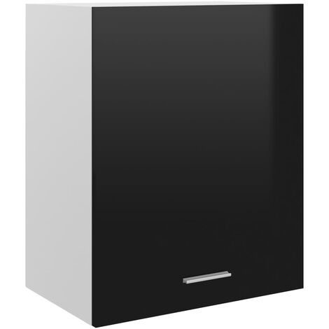 vidaXL Armario colgante de cocina aglomerado negro brillo 50x31x60 cm - Negro