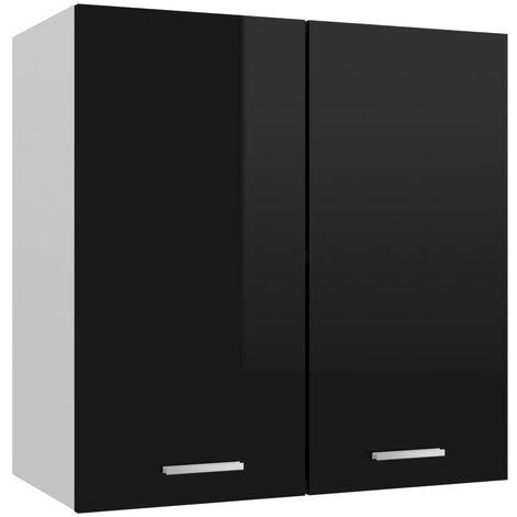 vidaXL Armario colgante de cocina aglomerado negro brillo 60x31x60 cm - Negro