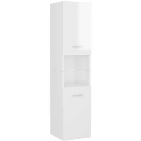 vidaXL Armario cuarto de baño aglomerado blanco brillante 30x30x130 cm - Blanco