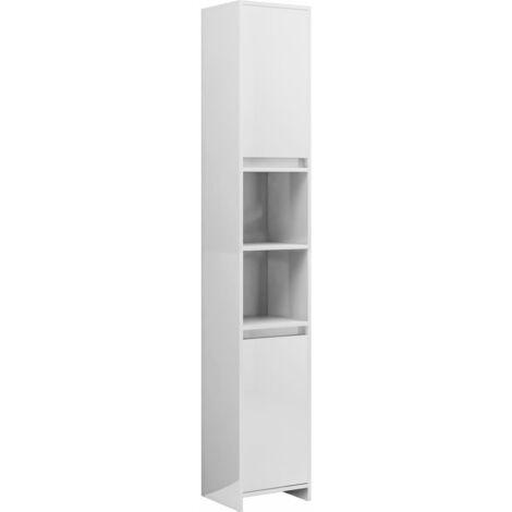 """main image of """"vidaXL Armario cuarto de baño aglomerado blanco brillo 30x30x183,5 cm - Blanco"""""""