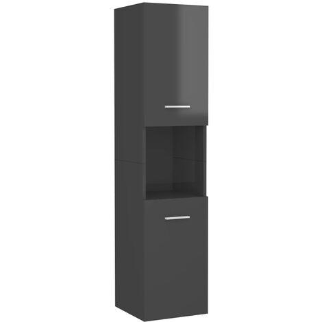vidaXL Armario cuarto de baño aglomerado gris brillante 30x30x130 cm - Gris