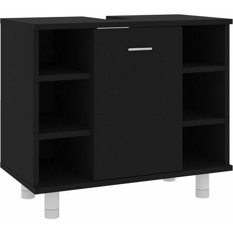 vidaXL Armario cuarto de baño aglomerado negro 60x32x53,5 cm - Negro