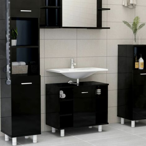vidaXL Armario cuarto de baño aglomerado negro brillante 60x32x53,5 cm - Negro