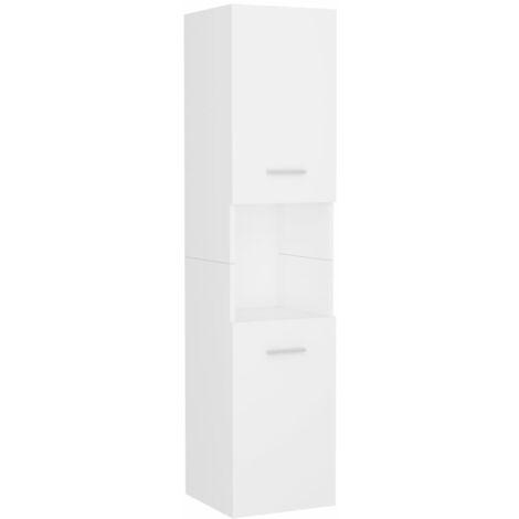 vidaXL Armario de cuarto de baño aglomerado blanco 30x30x130 cm - Blanco