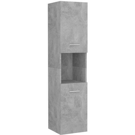 vidaXL Armario de cuarto de baño aglomerado gris hormigón 30x30x130 cm - Gris