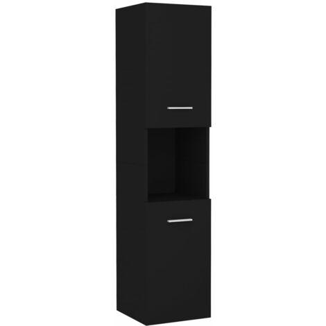 vidaXL Armario de cuarto de baño aglomerado negro 30x30x130 cm - Negro