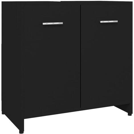 vidaXL Armario de cuarto de baño aglomerado negro 60x33x58 cm - Negro
