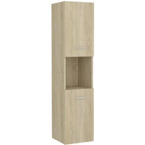 vidaXL Armario de cuarto de baño aglomerado roble Sonoma 30x30x130 cm - Marrón