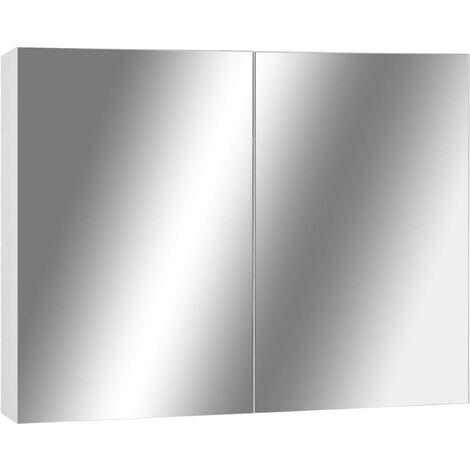 vidaXL Armario de espejo de baño MDF blanco 80x15x60 cm - Blanco
