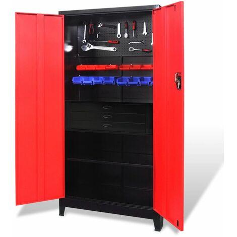 vidaXL Armario de herramientas con baúl acero negro/rojo 90x40x180 cm - Rojo