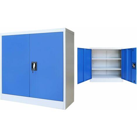 vidaXL Armario de Oficina Mueble Organizador Estantería Estante Ajustable Archivador Documentos Llave de Metal Gris y Azul Multitalle