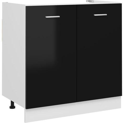vidaXL Armario debajo fregadero aglomerado negro brillo 80x46x81,5 cm - Negro