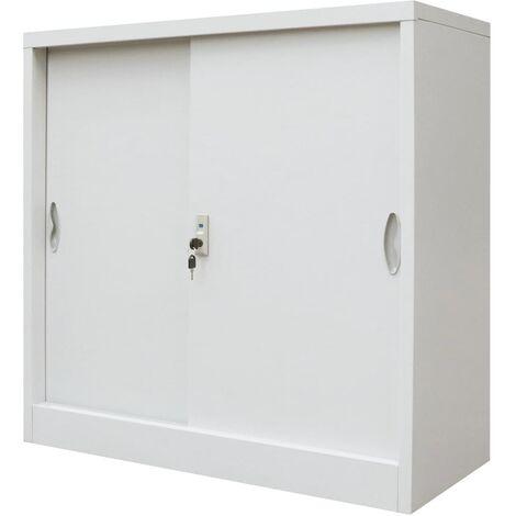 vidaXL Armario oficina con puertas correderas metal gris 90x40x90 cm - Gris
