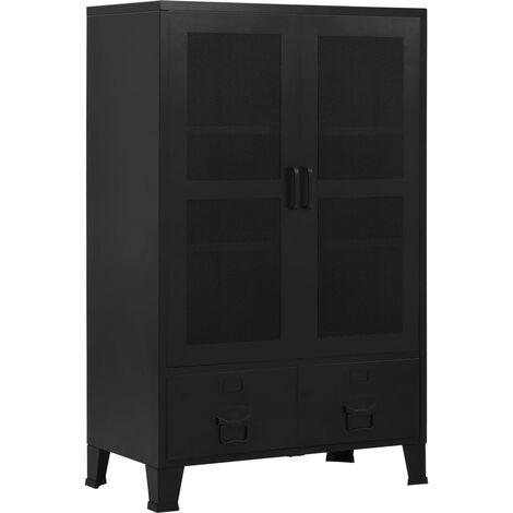 vidaXL Armario oficina indutrial puertas malla acero negro 75x40x120cm - Negro