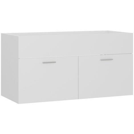 vidaXL Armario para lavabo aglomerado blanco 90x38,5x46 cm - Blanco
