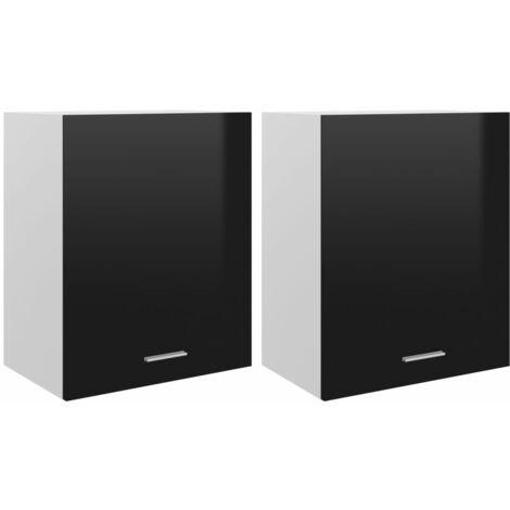 vidaXL Armarios colgantes 2 uds aglomerado negro brillo 50x31x60 cm - Negro