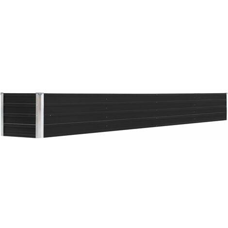 vidaXL Arriate de jardín de acero galvanizado antracita 320x40x45 cm - Antracita
