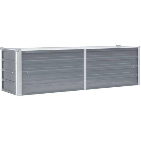 vidaXL Arriate de jardín de acero galvanizado gris 160x40x45 cm - Gris