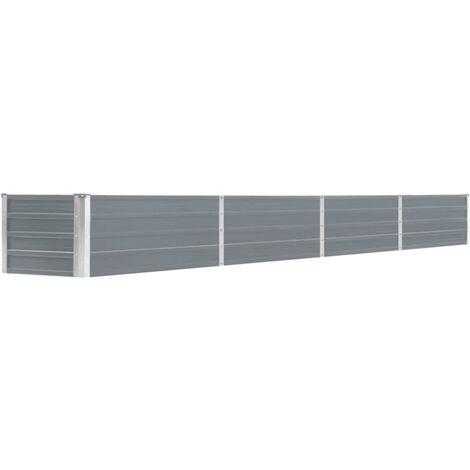 vidaXL Arriate de jardín de acero galvanizado gris 320x40x45 cm - Gris