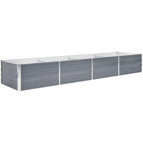 vidaXL Arriate de jardín de acero galvanizado gris 320x80x45 cm - Gris