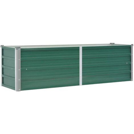 vidaXL Arriate de jardín de acero galvanizado verde 160x40x45 cm - Verde