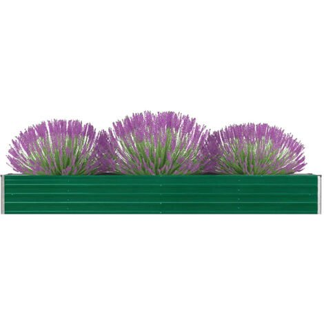 vidaXL Arriate de jardín de acero galvanizado verde 320x40x45 cm - Verde