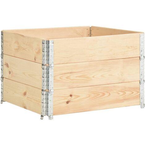 vidaXL Arriates de madera maciza de pino 3 unidades 100x100 cm - Marrón