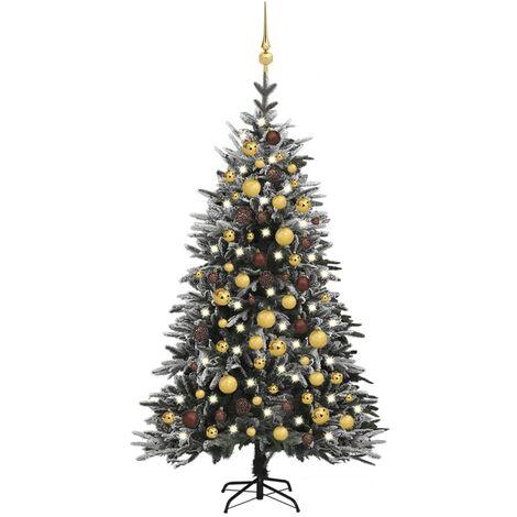 "main image of ""vidaXL Artificial Christmas Tree LED&Ball Set&Flocked Snow 120cm PVC&PE"""