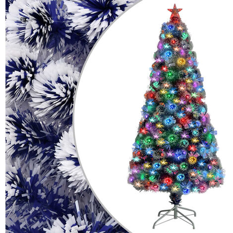 "main image of ""vidaXL Artificial Christmas Tree with LED White&Blue 150 cm Fibre Optic"""