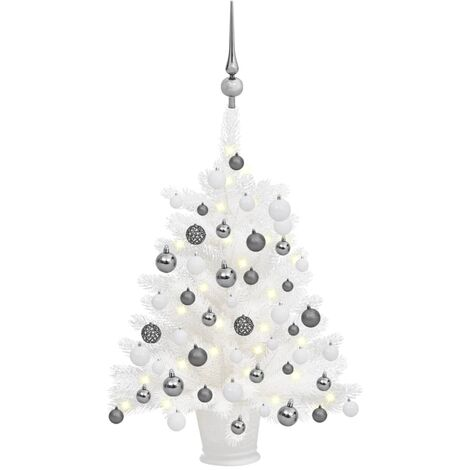 "main image of ""vidaXL Artificial Christmas Tree with LEDs&Ball Set White 65 cm"""