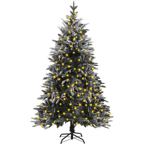 "main image of ""vidaXL Artificial Christmas Tree with LEDs&Flocked Snow 150 cm PVC&PE"""