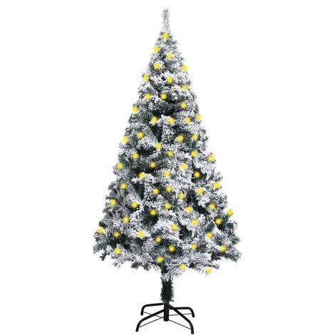 """main image of """"vidaXL Artificial Christmas Tree with LEDs&Flocked Snow Green 150 cm"""""""