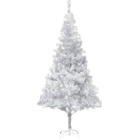 vidaXL Artificial Christmas Tree with Stand Silver 180 cm PET - Silver
