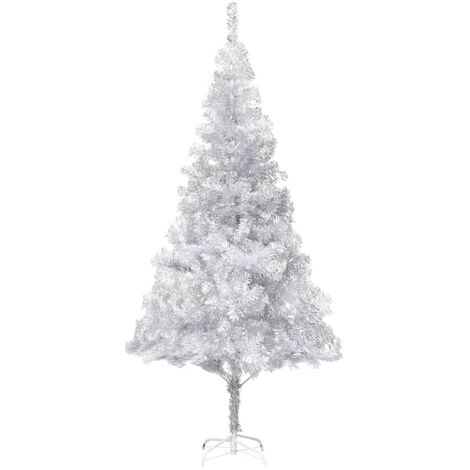 vidaXL Artificial Christmas Tree with Stand Silver 210 cm PET - Silver
