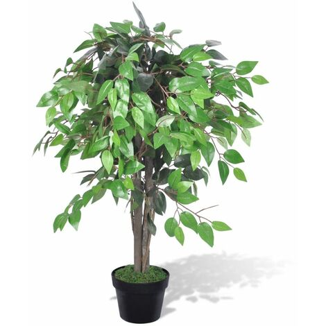 vidaXL Artificial Dwarf Ficus with Pot Artificial Flowers Trees Fake Plant Indoor Living Room Decoration Plastic Greenery Multi Size
