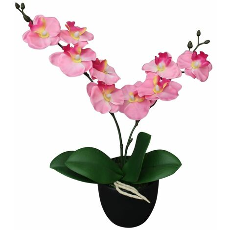 vidaXL Artificial Orchid Plant with Pot Fake Flower Multi Sizes Multi Colours