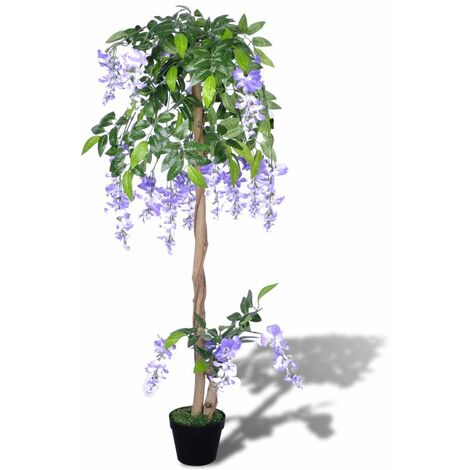 vidaXL Artificial Wisteria with Pot Realistic Fake Floral Decor Plant Indoor Home Living Room Decoration Artificial Flowers Fake Tree 120 cm/160 cm