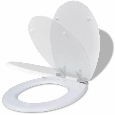 vidaXL Asiento inodoro WC MDF tapa de cierre suave diseno blanco