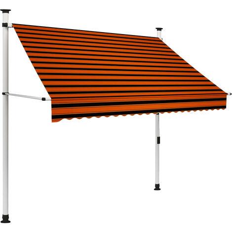 vidaXL Auvent Manuel Rétractable Auvent de Terrasse Banne de Jardin Store de Balcon Auvent d'Extérieur Dimensions Diverses Orange et Marron