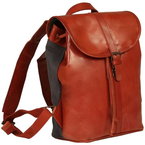 vidaXL Backpack Real Leather Hiking Travel Camping Rucksack Bag Case Tan/Brown