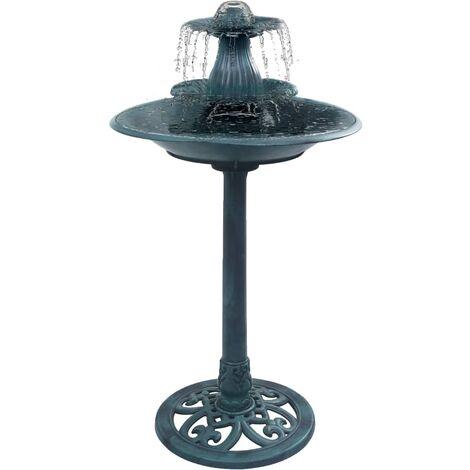 vidaXL Bain pour Oiseaux avec Fontaine Plastique Baignoire pour Oiseaux Balcon Terrasse Extérieur Résistant aux Intempéries Vert/Bronze
