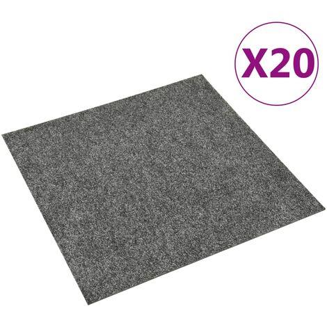 vidaXL Baldosas de moqueta de suelo 20 unidades 5 m² gris oscuro - Gris