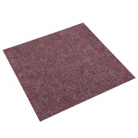 vidaXL Baldosas de moqueta de suelo 20 unidades 5 m² rojo oscuro - Rojo