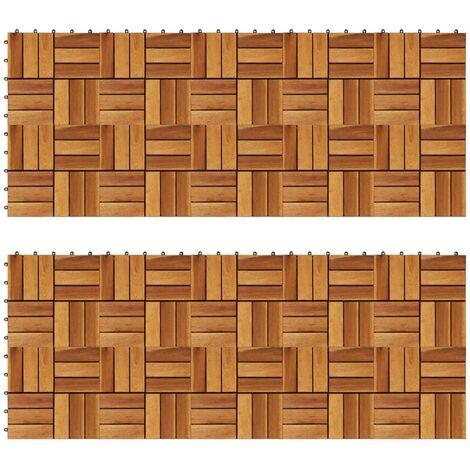vidaXL Baldosas de porche acacia 20 piezas 30x30 cm - Marrón