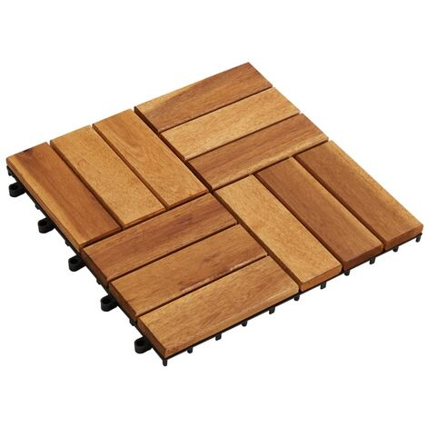 vidaXL Baldosas de porche de acacia 10 piezas 30x30 cm - Marrón