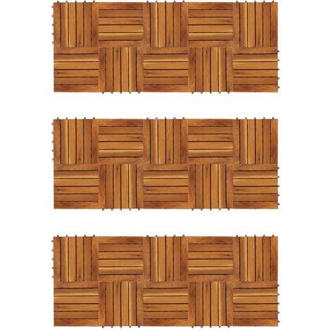 vidaXL Baldosas de porche patrón vertical 30 piezas acacia 30x30 cm - Marrón
